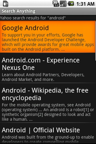 Search Anything Android Reference