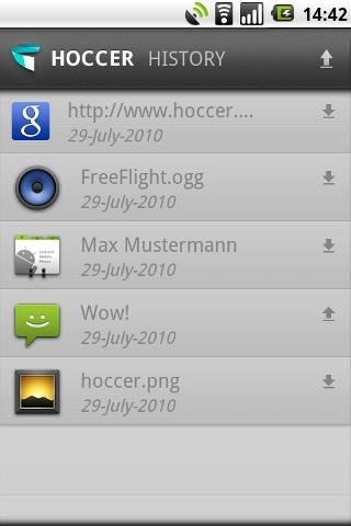 Hoccer: data sharing Android Productivity