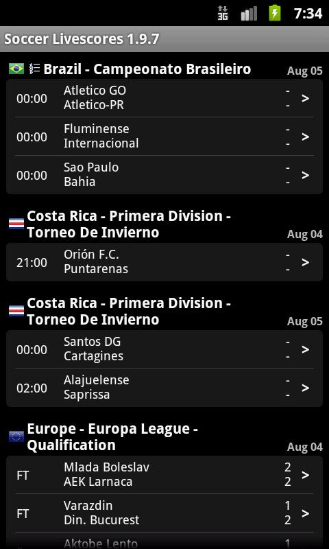 Soccer / Football Live Scores Android Sports