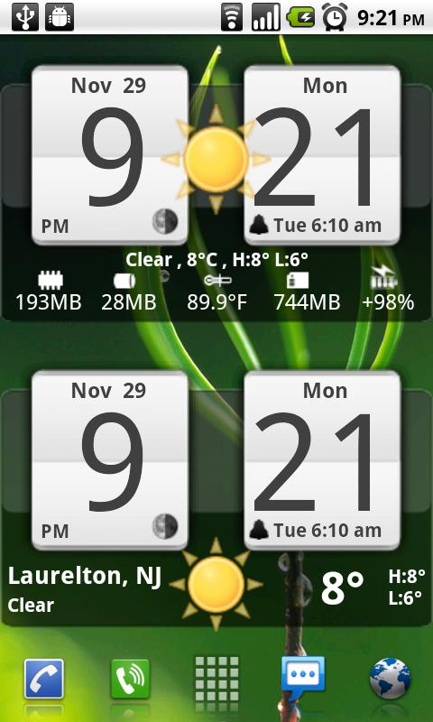 Sense Analog Clock Widget 24 Android Weather