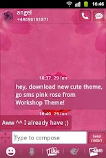 GO SMS Theme Pink Rose Cute Android Personalization