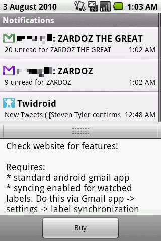 GMail Label Notifier   Widgets Android Communication
