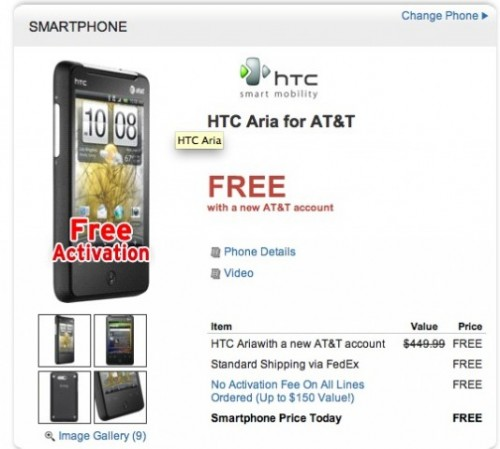 Dell Selling Free HTC Aria