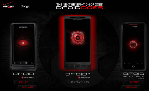 Droid X Appears On The Verizon Website