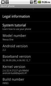 Final Froyo 2.2 Build Available through OTA on Nexus One