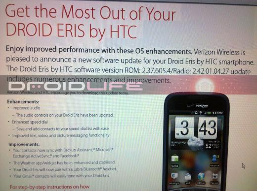 Rumor: HTC Droid Eris To Receive Software Update On July 16