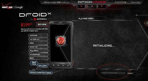 Secret Code Leads To Special Droid X Page