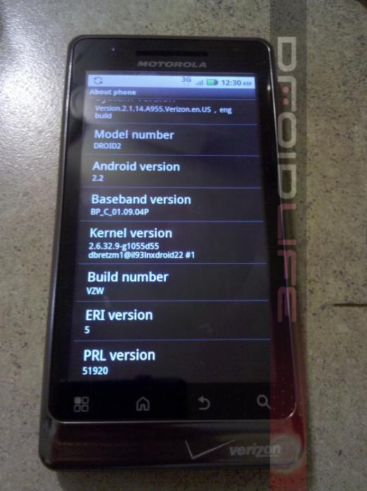 Image Shows Motorola Droid 2 Running Android 2.2