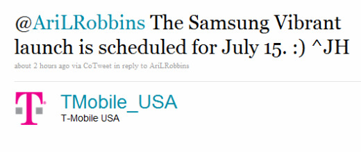 T-Mobile Pushes The Samsung Vibrant Launch Date To July 15