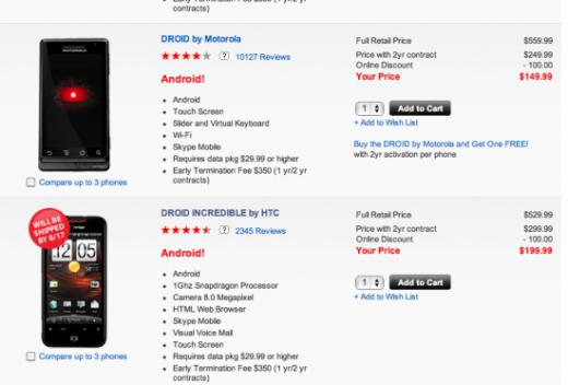 Verizon Wireless: Motorola Droid and HTC Droid Incredible Back In Stock