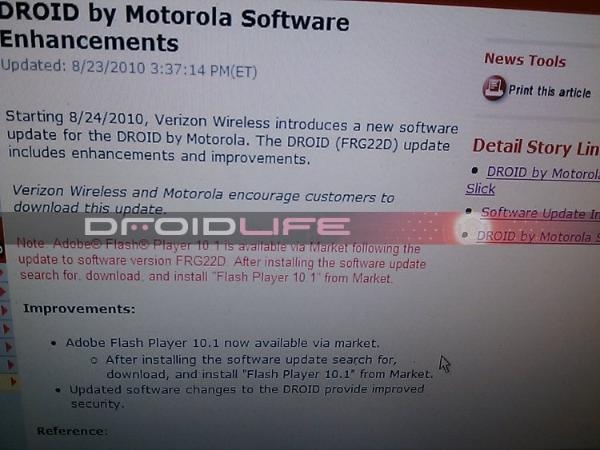Verizon To Roll Out Adobe Flash 10.1 Update for Droid Starting Tomorrow