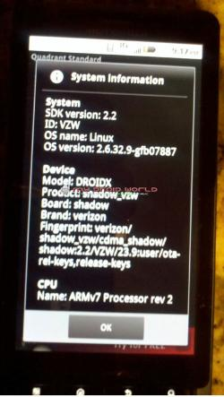 Android 2.2 Leaked For Motorola Droid X