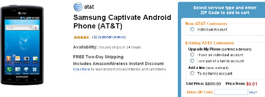 Amazon Wireless Offers Samsung Captivate For A Penny