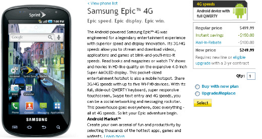 Samsung Epic 4G Officially Available with Sprint for $249