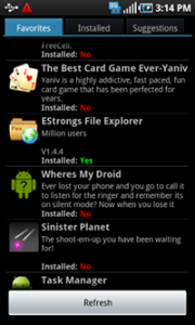 Favorites Android App Suggests New Apps and Pushes to Phone
