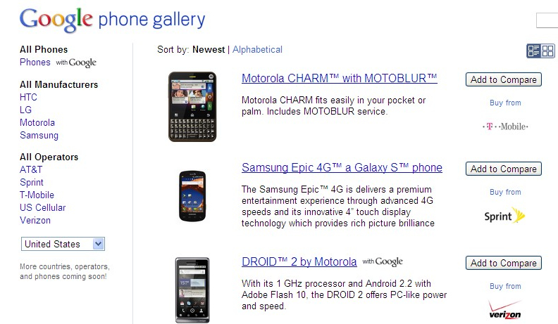 Google Revives Nexus One Selling Site into an Android Phone Gallery