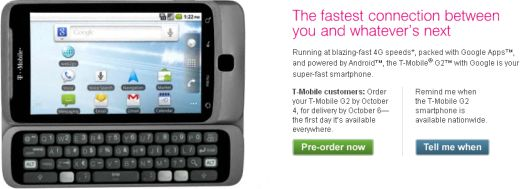 T-Mobile G2 Available for Pre-Order for Existing T-Mobile Customers
