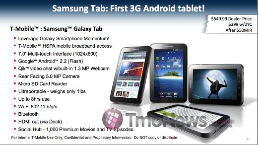 Leak: Samsung Galaxy Tab Pricing for T-Mobile – $399 On Contract