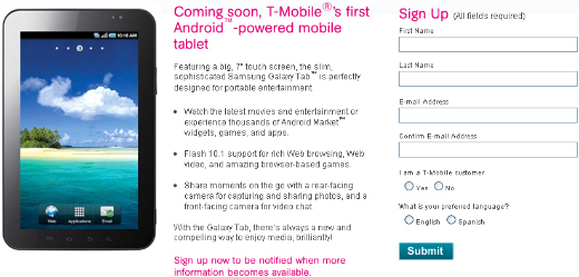 Samsung Galaxy Tab Teaser Page Lands on T-Mobile