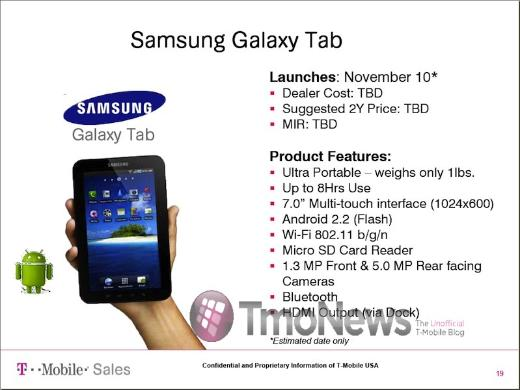 Will the Samsung Galaxy Tab On T-Mobile Launch November 10?