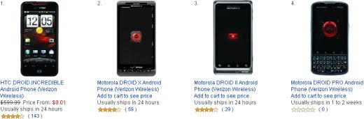 Verizon Wireless DROID Lineup Offered On Amazon For A Penny