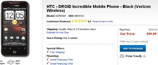 Best Buy Offers The HTC Droid Incredible for $99 This Weekend Only