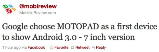 Motorola Expected To Integrate Android 3.0 Into MOTOPAD
