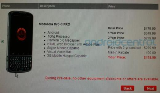 Motorola Droid Pro Pre-Order Begins November 9, Could Sell for $179