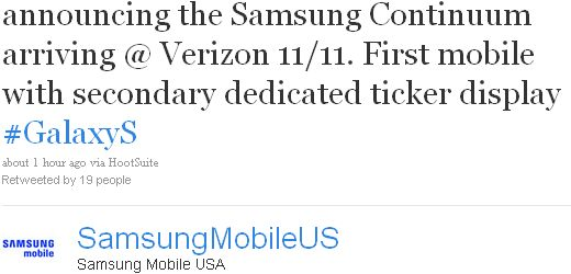 Samsung Announces The Samsung Continuum Launching On Verizon On November 11
