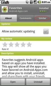 "Android Market Now Has App Suggestion via ""Similar"" Tab"