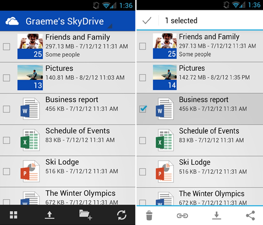 Microsoft releases Skydrive App for Android phones