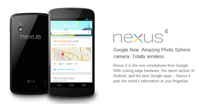 Nexus 4 goes Back on Sale Today at Noon on Google Play