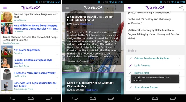 Yahoo brings Summly powered news browser to Android