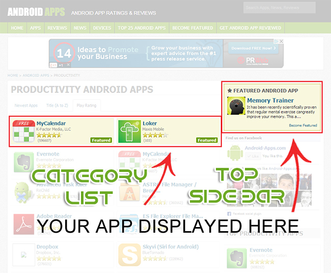 Your app front and center on Android Apps!